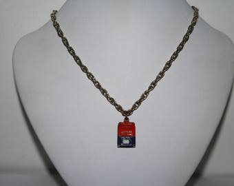 Vintage Silver-tone necklace with US Post Box pendant  24 inches