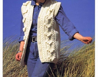 Lady's Sleeveless Cardigan Waistcoat - Size 81 to 107 cm (32 to 42 inches) - Hayfield 4622 - Vintage Knitting Pattern