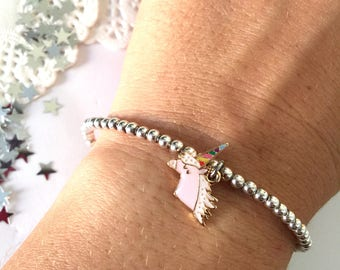 925 silver bracelet with enamel unicorn pendant