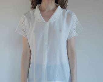 60's hand embroidered white silk blouse with cut out lace