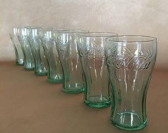 Vintage Coke Glasses, Coca Cola Glass, Mini Fountain Glass, Small Green Glass, Bar Tasters, Coke Collectible, Retro Bar Glass, Soda Fountain