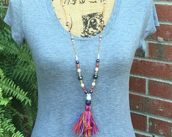 Long Beaded tassel necklace purple & orange long seed bead necklace Bohemian necklace boho colorful necklace gold jewelry ladies long beaded