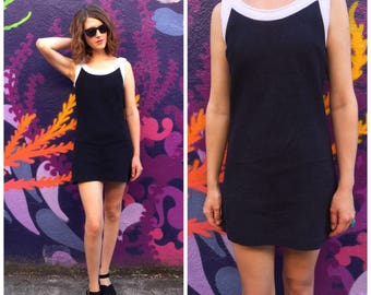 Black White Dress 60s 70s Mini Vintage Koret of California Small Dress
