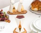Judaica gift, Shabbat Kiddush cup, Jewish wedding, Rosh-Hashanah Geometric wine cup, white ceramic with 24K gold pattern, Made in Israel