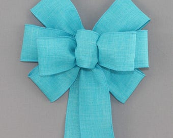 Turquoise Rustic Wreath Bow - Easter Wreath Bow, Spring Rustic Bow, available in 14 colors