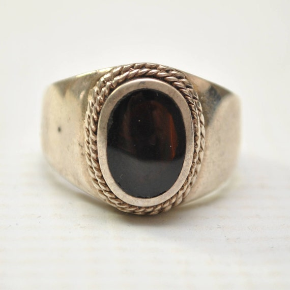 Onyx Small Oval with Braid in Plain Sterling Silver Ring Sz 10 #8149