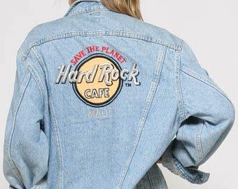 90s Original LEE Denim Jacket/ Hard Rock Cafe MAUI Embroided Jacket/ Ladies Denim 90s