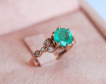 Emerald Ring, Round Emerald Engagement Ring, Vintage Emerald Engagement Ring, Floral Engagement Ring, Rose Gold Emerald Ring