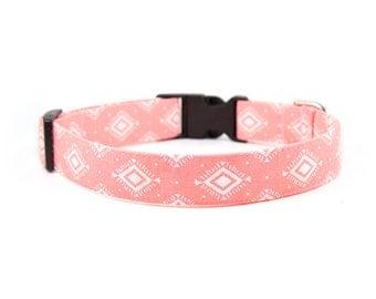 Tribal Dog Collar // Size S-XL // Adjustable Length // Fabric: Pink Aztec Geometric