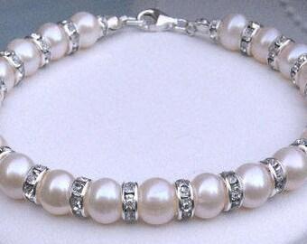 Freshwater pearl wedding bracelet real pearl bridal bracelet Sterling Silver pearl and diamante genuine pearl wedding jewelry jewellery gift