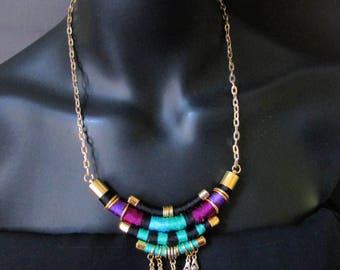 Anemone Dreams Necklace,Thread necklace,Tribal necklace,Purple necklace,Bold necklace,Handmade necklace,Purple necklace,handmade jewellery