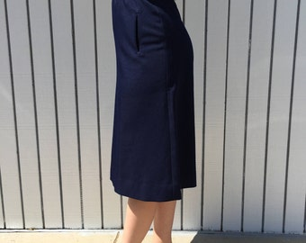 70s Vintage Size 28 A-Line Midi Skirt Navy Blue High-Waisted | by Panther