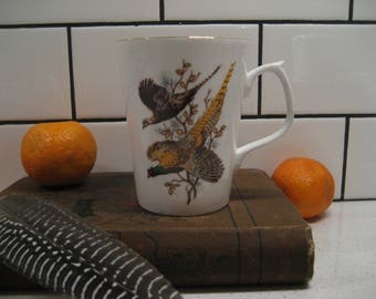 BOGO 40% OFF // Vintage Pheasant Couple Fine Bone China Cup - Jason Works - Nanrich Pottery - Staffordshire England - gold gilding