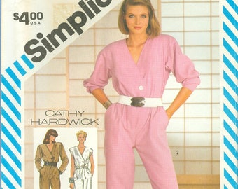 1983 Misses' Jumpsuit in Two Lengths by Designer Cathy Hardwick Uncut Factory Fold Size 10, 12, 14 - Simplicity Sewing Pattern 6268