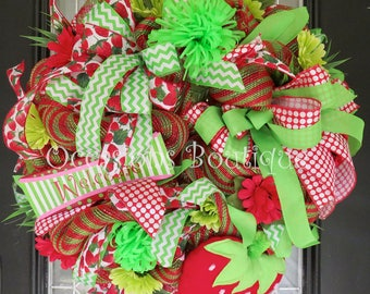 Whimsical Summer Wreath, Summer Door Hanger, Front door wreath, Door Hanger, Strawberry Decor, Large Wreath, Ready to Ship