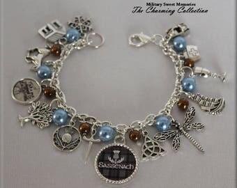 Outlander Beautiful light blue and brown fraser colors bracelet, Show Series, Book Series, Diana Gabaldon, Inspired Jewelry Outlander