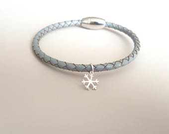 Grey Braided Leather Bracelet with Snow Flake Charm - Charm Bracelet - Grey Leather - Coworker Gift - Stocking Stuffer  - For Her