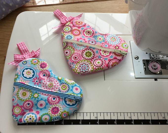 Handmade Pretty Heart Shaped Jewellery travel case, earring pouch, small purse