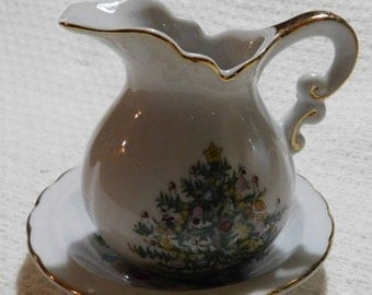 Vintage Lefton China Christmas Tree Pitcher and Saucer Hand Painted