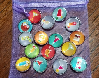 18mm Snap Button Charms - Drinks