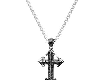Engraved Heraldry Cross Pendant
