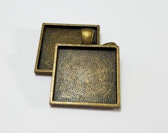 Bezel, Pendant, Blank, Antique Brass, Bronze, Square, Steampunk, Mixed Media, Jewelry, Beading, Supply, Supplies