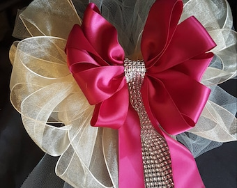 Burgandy And Ivory Or Any Color Wedding Pew Bows With Bling, Church Pew Bows, Party Bows, Present Bows