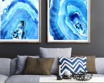 Extra Large Wall Art,2 Prints Of 24x36 Inches, Teal Blue, Xtra Large Part 57