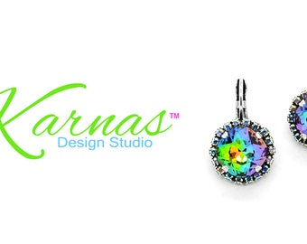 VITRAIL MEDIUM & AB 12mm Cushion Cut Halo Drop Earrings Swarovski Elements *Antique Silver *Karnas Design Studio™ *Free Shipping*