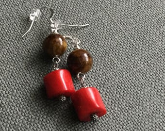 Coral earrings Gemstone earrings Bronzite earrings Gemstone jewelry Bamboo coral jewelry Red coral dangle earrings Gift for her