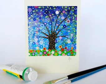 Tree of Life Greeting Card Art Nouveau with Intricate Sky and Floral Motifs