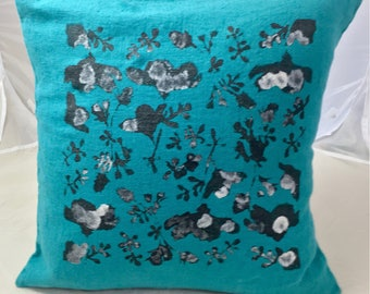 Linen cushion washed 45 cm X 45 cm turquoise and elegant foliage