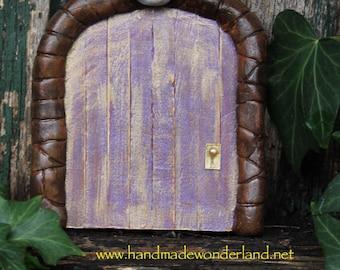 Purple and Golden -Handmade Faerie Door with Moon - Portal magik meditation tool visionary faerie Miniature Fantasy Fairy Door fairy garden