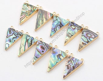 Double Bails Abalone Shell Triangle Pendants -- With Electroplated Gold Edge Double Horn Charms Wholesale YHA-285