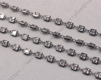 1ft, Square White Zircon Connector Chain With Black Gold Plated -- Faceted Rosary Chains Wholesale Handmade Craft Supply CQA-091