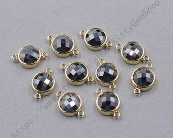 12mm Faceted Iron Jasper Connectors -- With Electroplated Gold Edge Charms Wholesale Supplies YHA-345