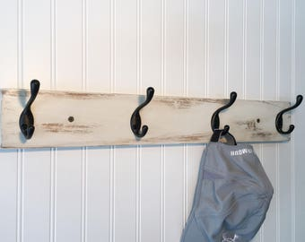 Farmhouse coat rack with 4 coat hooks, wall coat rack, painted coat rack, antique white, rustic coat hook rack entryway coat hooks wood