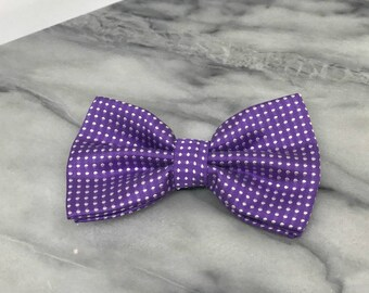 Lavender Polka Dots Bowtie for Wedding Dog Outfit Pet Wedding Purple Bow Tie Black Dog Collar