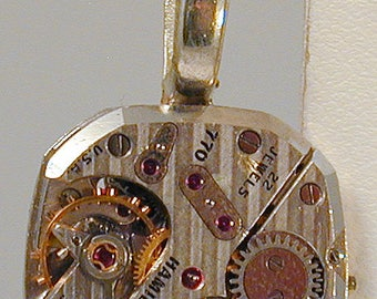 Steampunk Vintage Hamilton Watch Movement Pendant with Chain OOAK #6