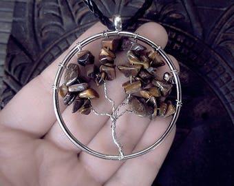 Tiger Eye Tree of Life, Yggdrasil, World Tree, Chakra Necklace, Wisdom Tree Pendant