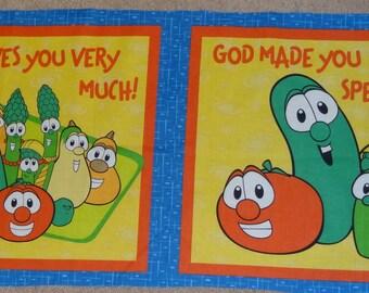 Veggie Tales Pillow Panel, Fabric Panel, New