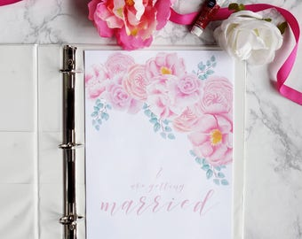 Wedding Planner Printable, Digital Wedding Organizer with floral design