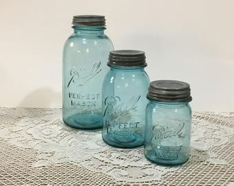 Blue Ball Perfect Mason Jars ~ Zinc Lids with Milk Glass ~ Set of 3 ~ Graduating Set ~ Half Gallon~Quart~Pint ~ Aqua Jars ~ Farmhouse