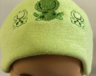 "15 inch Bitty Baby Doll Hat, Adorable ""FROG FAMILY"" Doll HAT, 15 inch Bitty Baby Clothes or Twin Doll, 15 inch Baby Doll Clothes"
