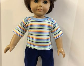 "18 inch BOY Doll Clothes, Cool ""COLORFUL STRIPES"" Top, Navy Pants, 2-Piece Outfit, 18 inch American Doll, 18 inch Boy Doll Clothes"