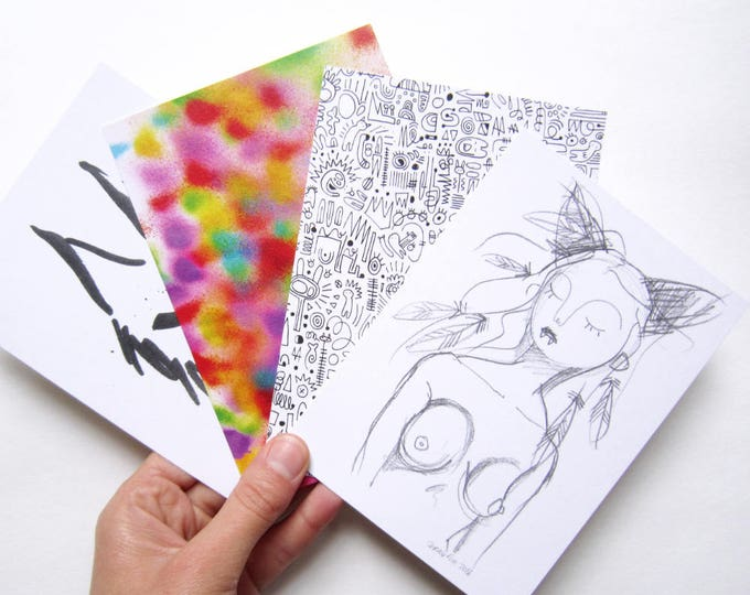 Set of 4 art cards, digital prints on recycled paper