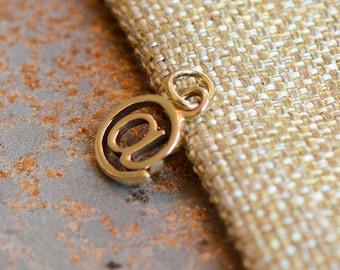 Bronze @ Charm, At Charm,Bronze @,@ Bracelet Charms,Charms for @ Bracelets,At Symbol,At Sign,At Keyboard Symbol, Twitter, Internet, JH15-003