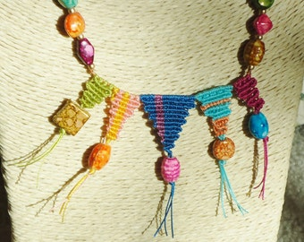Tribal, Boho necklace, micro-macrame, festival necklace, beaded necklaces, macrame jewelry