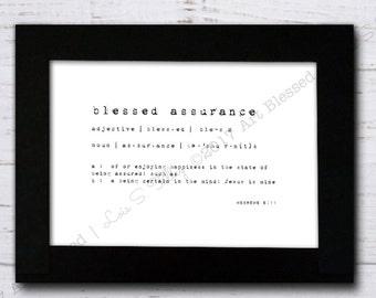 Digital Print | Blessed Assurance, Jesus is mine | definition | inspirational art | minimalist print | instant download | print | wall decor