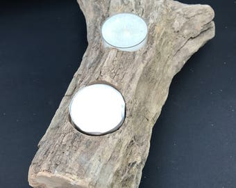 Scottish Driftwood Candleholder with two tealights